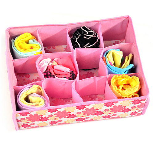 2015 New 12 Cells Socks Underwear Ties Drawer Closet Home Organizer Storage Box Case 1NGS Christmas  Gift  6LEK