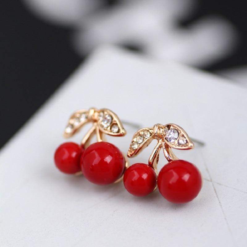 Горячая мода простые элегантные модные сексуальные девушки милые Cherry серьги-гвоздики женщин