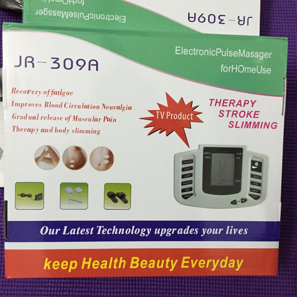 Jr 309 electrical stimulator relax muscle massage pulse tens of thousands of slippers + 4 electrode pad + acupuncture treatment hwato computer random pulse acupuncture treatment instrument smy 10a nerve and muscle stimulator tens 10 channels output ce appr