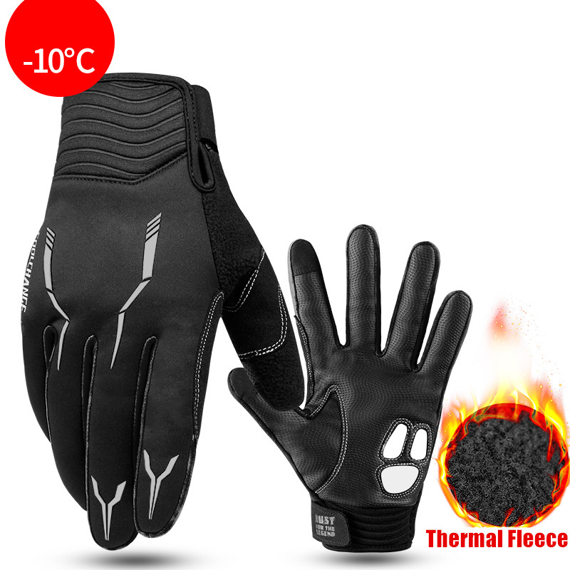CoolChange Thermal Fleece Cycling Gloves Winter with GEL Pad Windproof Bicycle Gloves Outdoor Sport MTB Bike Glove for Men Women in Cycling Gloves from Sports Entertainment