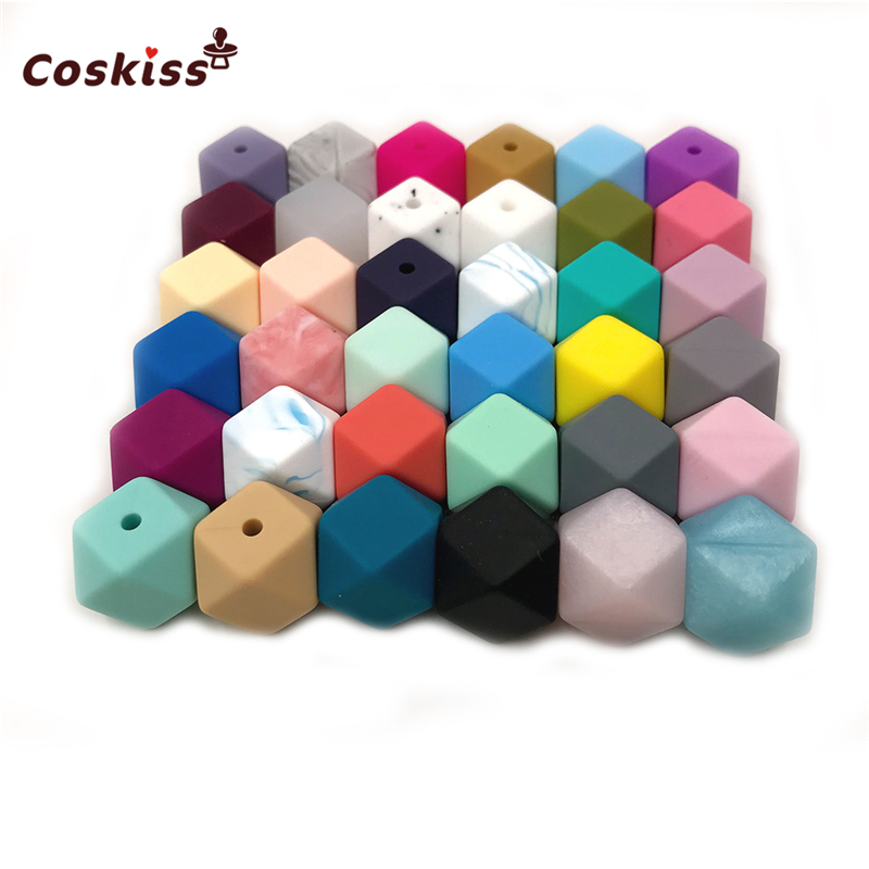 20pc 14mm Geometric Hexagonal Silicone Beads Baby Chew BPA Free Food Grade Soft Silicone Teething Beads For DIY Jewelry Making
