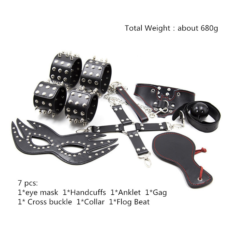 Sexy Lingerie BDSM Bondage Set Black PU Spiked Exotic Apparel Mistress Gift Handcuffs Eye Mask Gag for BDSM Sexy Woman