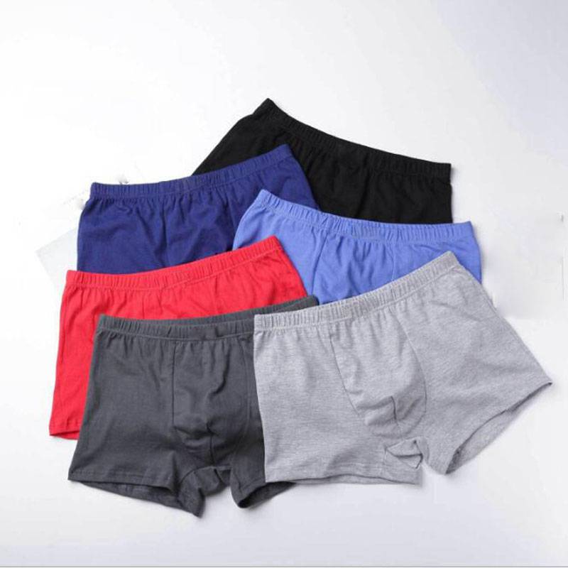 Underwear Men Boxer Youth Shorts Comfort Breathable Cotton Wholesale Solid Homme Flat-Angle