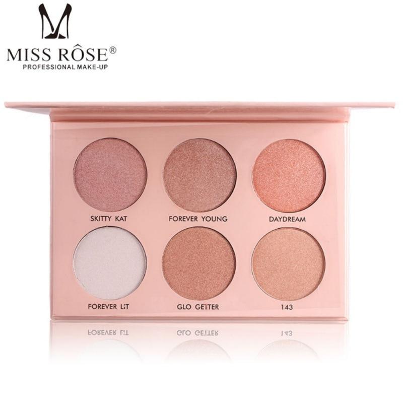 MISS ROSE Pro Contour Cipria Make Up Pigmento di 6 Colori Oro Bianco Nude Shimmer Mineral Powder Highlight di Trucco Palette