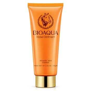 BIOAQUA Brand Horse Oil Facial Cleanser Moisturizing Oil Control Shrink Pores to Black Women Deep cleansing Lotion 100g