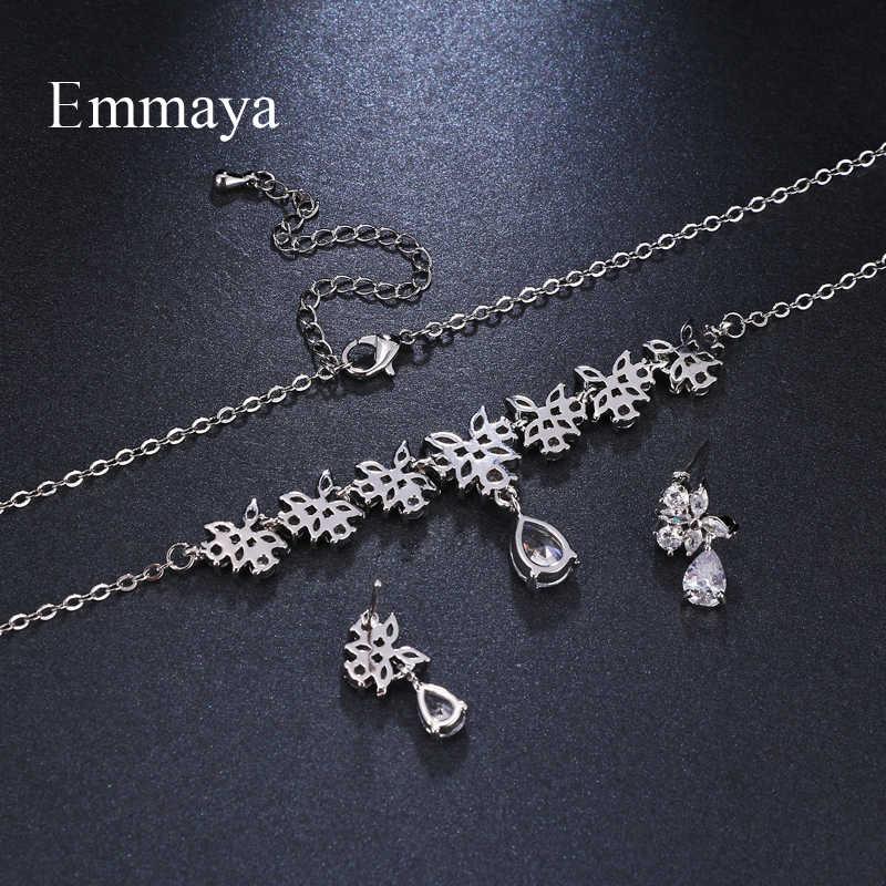 Emmaya Marke Charme Blume Form Weiß Gold Farbe AAA Cubic Zirkon Kristall Ohrringe Halskette Set Für Frauen Braut Schmuck Geschenk