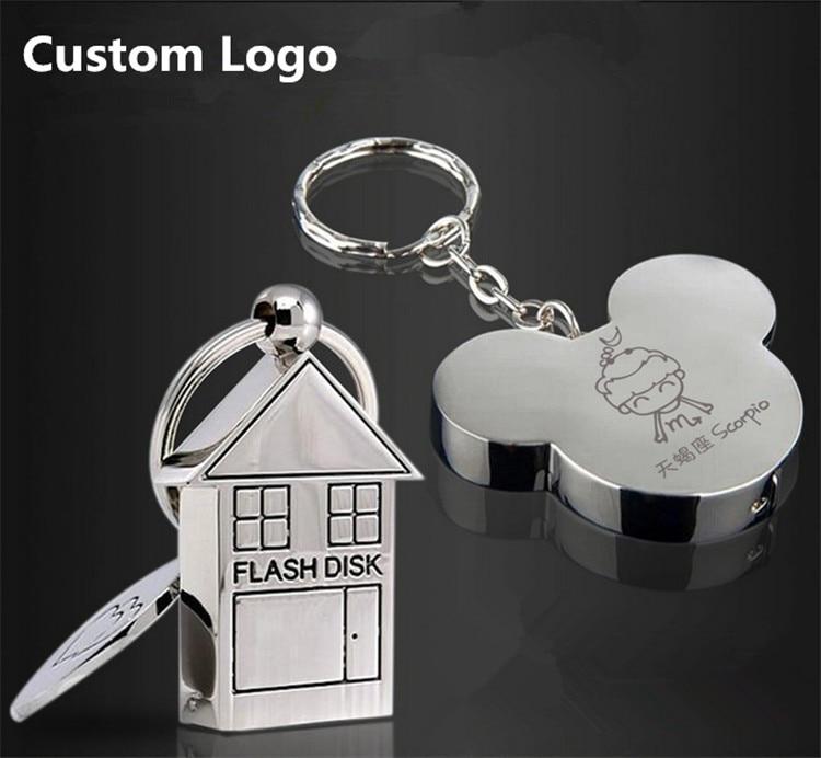 Top Qualité logo Personnalisé USB 2.0 Mignon Métal Maison Forme USB Flash Drive 8 GB 16 GB 32 GB 64 GB Usb Memory Stick Pendrive Cadeau cadeaux