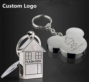 Top Quality Custom logo USB 2.0 Cute Metal House Shape USB Flash Drive 8GB 16GB 32GB 64GB Usb Memory Stick Pendrive Gift Gifts