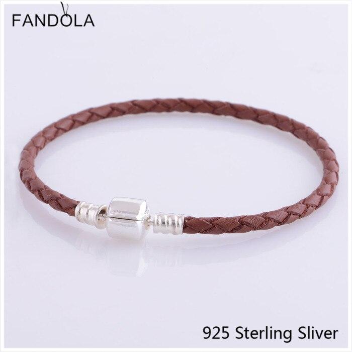 CKK 925 klämma i sterling silverlås Mörkbrunt läderarmband Smycken som gör passar för pärlor och charm