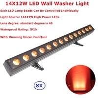 Eyourlife 8 Unids/lote China RGBWA-UV 6IN1 Led Colada de La Pared Luz 14X12 W LED de Interior DMX Wash Bar/Led Arandela De La Pared de Iluminación de la Etapa de Interior