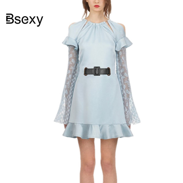5d39d168e46 Newest Light Blue Women Party Dress 2018 Women Autumn mermaid Dress Runway  Lace Open Back Ruffle Sash A line Long Sleeve Dress