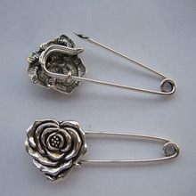 12 x Silver Tone Strong Metal Kilt Scarf Brooch Safety Pin With Rose Flower 51mm
