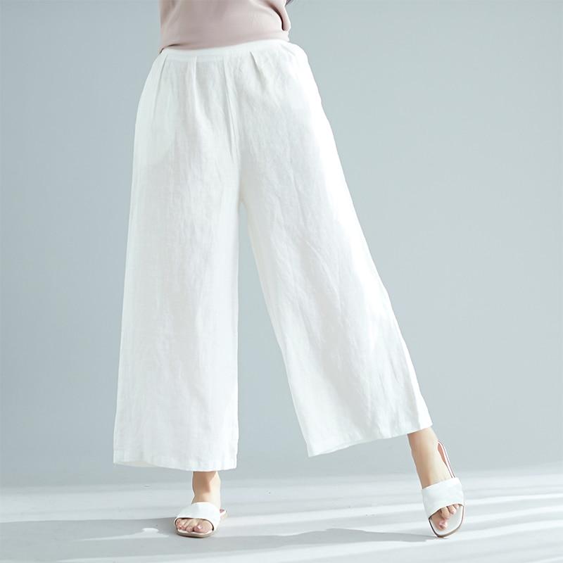 2019 Summer Cotton Linen   Pants   Women Vintage   Wide     Leg     Pants   Elastic Waist Pocketed Loose Thin Casual Baggy   Pants   female Trousers