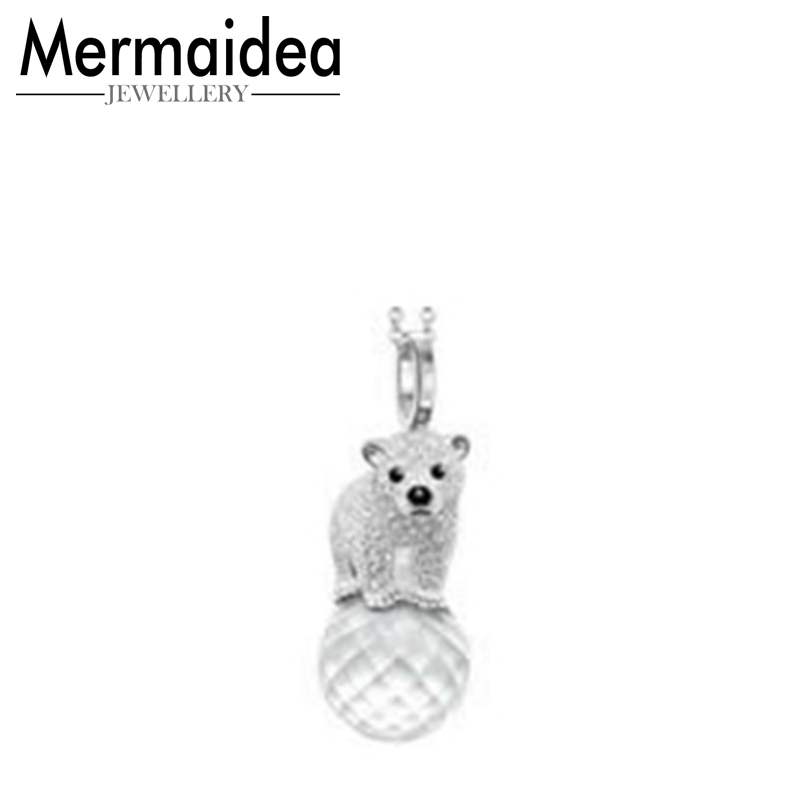 Polar Bear Crystal Ball Pendant Necklaces Women Men Cute Animal Silver Fashion Jewelry Gifts 2019 New Arrivals