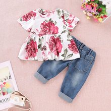 Baby Girl Clothes 2PCS Ruffle Outfits Short Sleeve Floral Shirt Tops+ Denim Pants Ripped Jeans for Girls new fashion kids girl clothes tunic tops flare sleeve t shirts infant baby girl ripped denim pants hole jeans outfits clothes