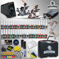 Complete Tattoo Kit 2 Top Machine Gun 40 Color Ink TOP Power Supply Needle with case HW-8GD-3