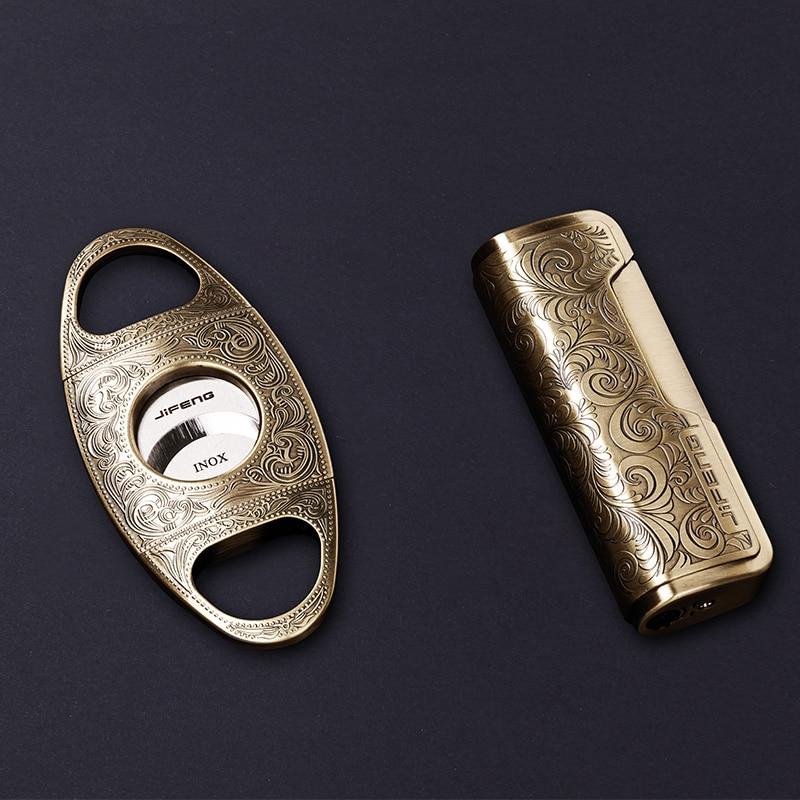 luxury gold silveralloy metal Cigar cut lighter set portable windproof lighter sharp cigar cut gift set w box packing CL 090 in Lighters from Home Garden