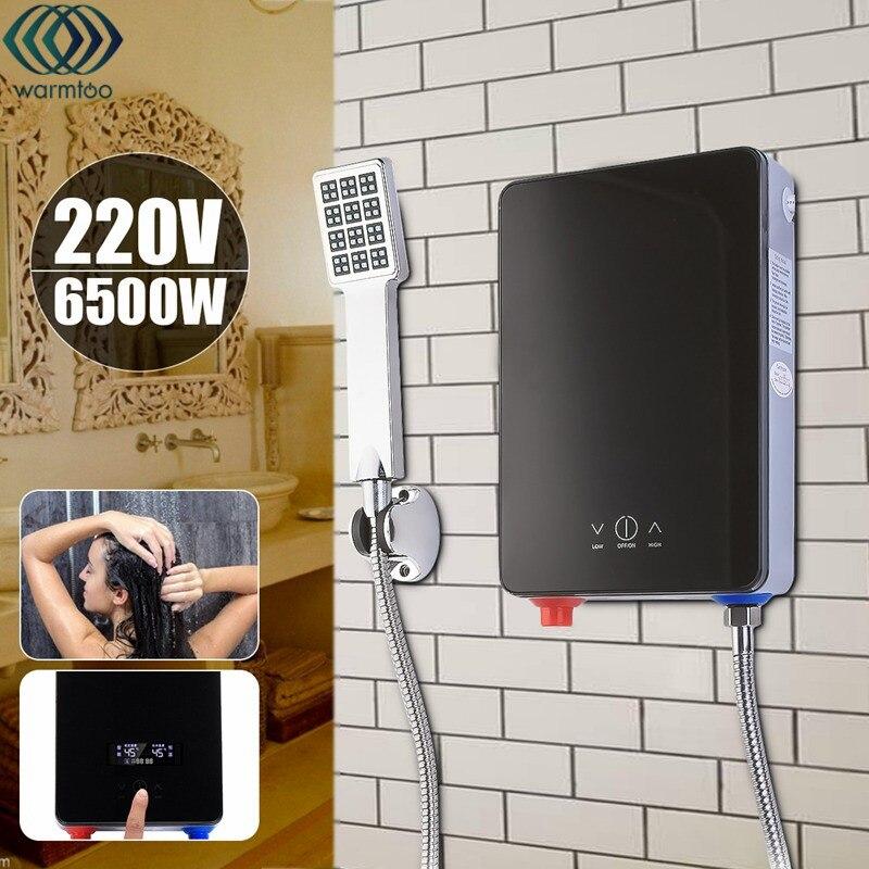 Электрический Водонагреватель проточный нагрева 220 В 6500 Вт защита от перегрева постоянной Температура с душевой насадкой