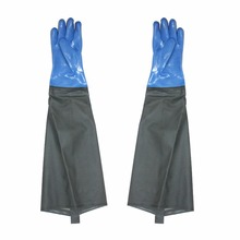 Oil Resistance Catch Fish Gloves Acid Anti Skid Tough Long Sleeve Rubber Working Gloves for Fishing Painting L Size