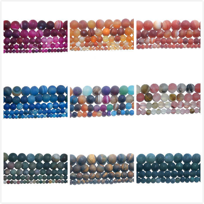 4 6 8 10 MM Dull Polish Matte Natural Stone Bead Pink Quartz Amethysts Agates Amazon For Jewelry Making DIY Bracelet Necklace