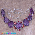 Dazzling Purple Natural Stone Red Created Garnet 925 Sterling Silver  High Quality Grade  Necklace L577