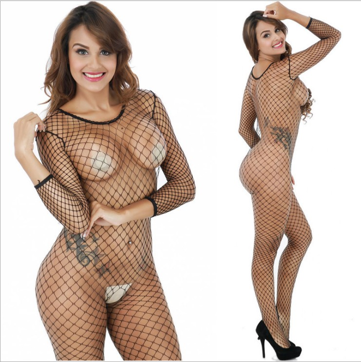 full body visnet Crotchless pure bodystocking Full Body panty transparante lange mouw open kruis Panty Stocking