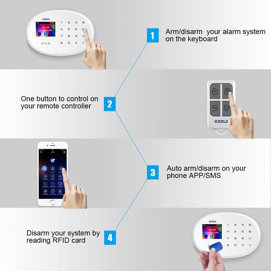 Image 5 - KERUI Outdoor Solar Flash Alarm WIFI Camera GSM Security Alarm System Suite Wireless Home Application Control Security System-in Alarm System Kits from Security & Protection