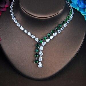 Image 3 - HIBRIDE האחרון אופנה AAA מעוקב Zirconia שרשרת עגילי חתונה כלה תכשיטי סטי שמלת parure אביזרי bijoux N 423