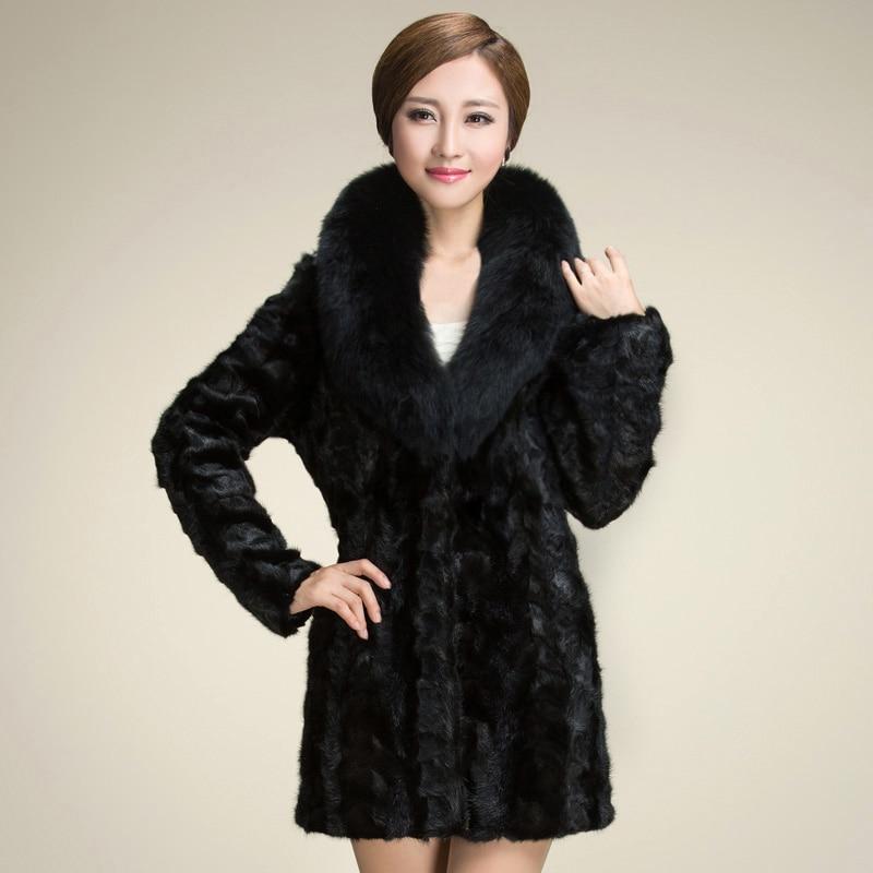 2018 Women Black Faux Fur Coat Thicken Warm Winter Fur Collar Female Artificial Fur Coats Jackets Solid Color Coat Plus Size 3xl Elegante Nello Stile