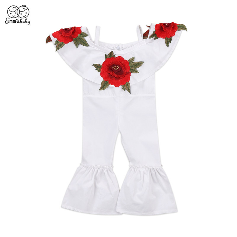 Fashion Lovely Toddler Baby Kids Girl Fille Jolie Clothes Sleeveless Romper Jumpsuit Bell Bottom Pants One-Pieces Outfit