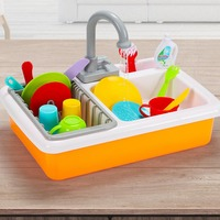 Children simulation Kitchen Play Water Cleaning Toys Pool Play Home Kindergarten Automatic Circulation Sink Dishware baby Toys