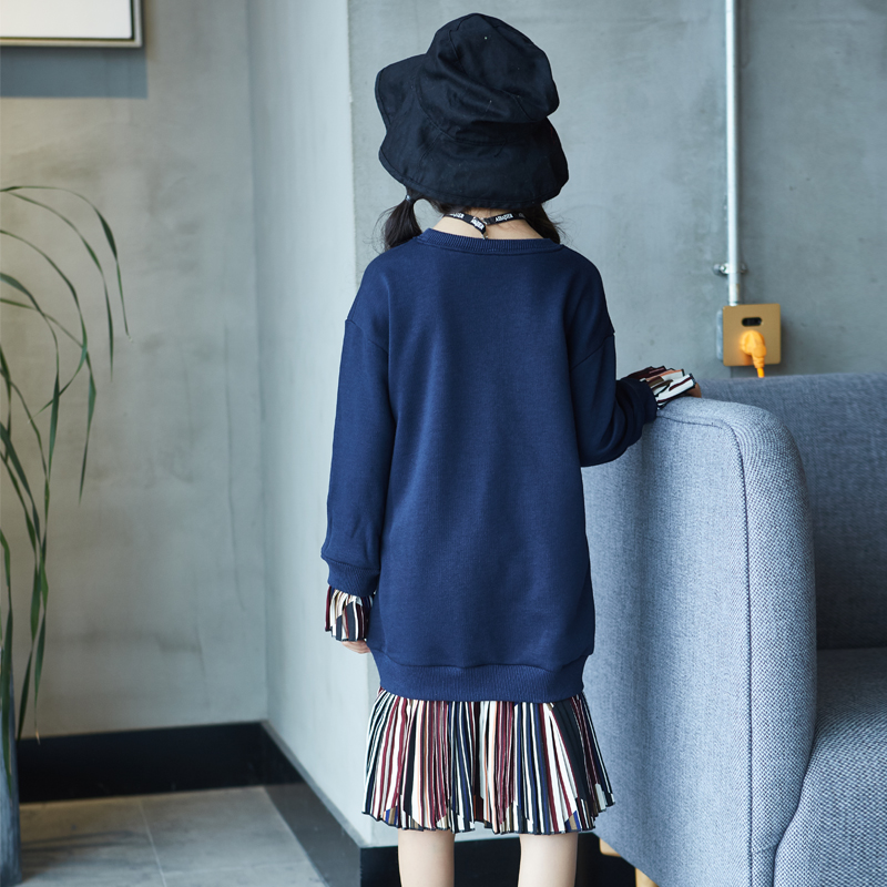 Kids Dresses For Girls 5 6 7 8 9 10 11 Years Autumn Girl Dress Long Sleeve Letter Dress Children Clothes Teenagers Baby Dress girl dress autumn white long sleeved clothes korean cotton size 4 5 6 7 8 9 10 11 12 13 14 years kids blue lace princess dress