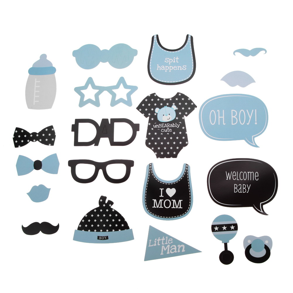 20Pcs DIY Mask Photo Booth Props Mustache Cloth Glasses Baby Shower Boy Girl Birthday Enclosed Stick Frame Party Decoration