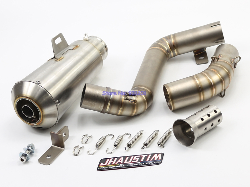 JHAUSTIM for KTM Duke 200/390 Motorcycle Exhaust Muffler Link Pipe Set Motorbike Escape Muffler Exhaust Middle Link Pipe motorcycle stainless slip on exhaust mid pipe for ktm 390 duke 2013 2014 2015 2016