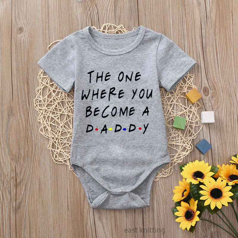 DERMSPE 2019 Fashion Baby Boys Girls Cotton Rompers Summer Short Sleeve Letter Print Thin Section Newborn Baby Clothes Gray