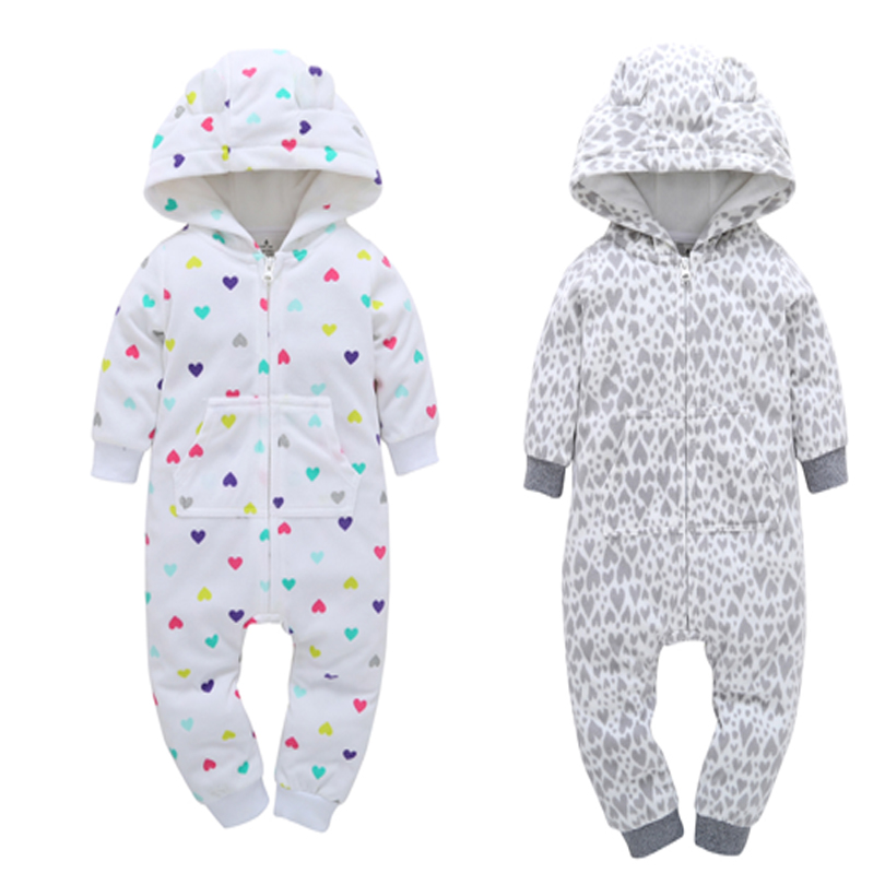 baby winter clothes newborn rompers baby boy girl long sleeve hooded fleece jumpsuit overall infant Christmas clothing