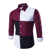 2016 New Camisas Masculina Blouse Plaid Shirt Tommis Multi-color Stitching Men's Plaid Shirt Denim Shirt Brand-Clothing