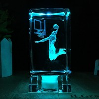 K9 Crystal Cube Figurine basketball star Kobe Bean Bryant model crystal ornaments fans gift 3D Laser Engraved Crafts