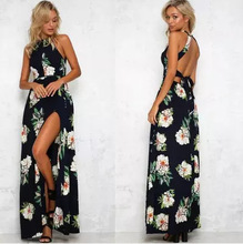 New  Floral Print Halter Chiffon Long Dress Women Backless Summer Maxi Dresses Vestidos Sexy 3 Colors Femme Split Beach Dress