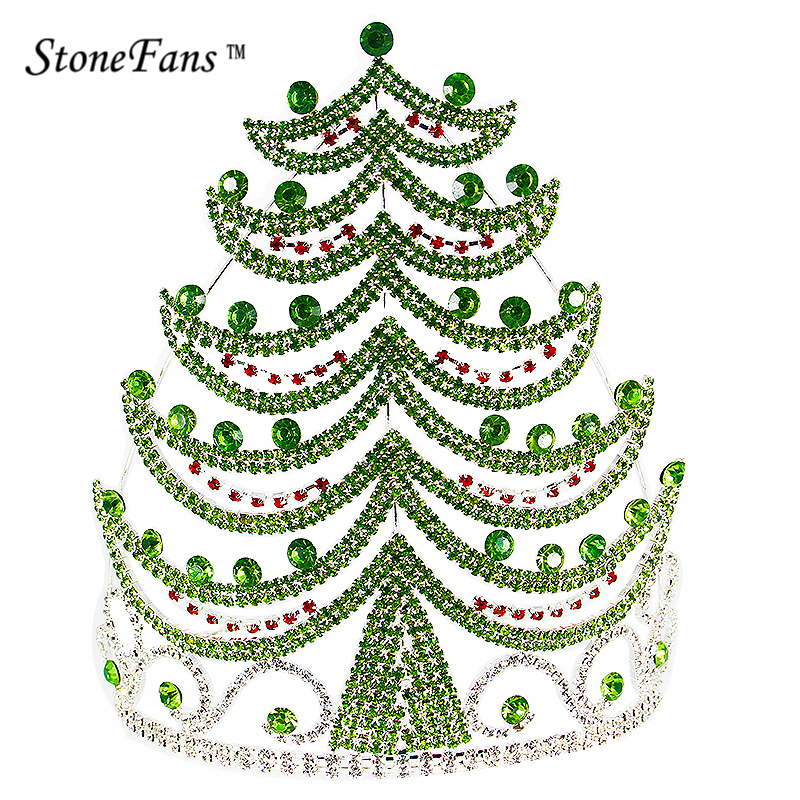 StoneFans Christmas Crown Christmas Tree Jewelry Decoration Rhinestone Plant Crowns And Tiara For Princess And Queen Gifts HG026 3d christmas tree and stars print flocking hoodie