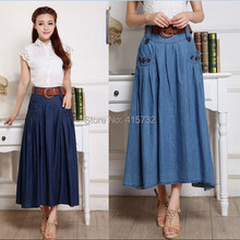 Free Shipping 2017 Fashion Long Maxi A-line Skirts For Women Elastic Waist Spring And Autumn Denim Jeans Skirt S to XL Plus Size