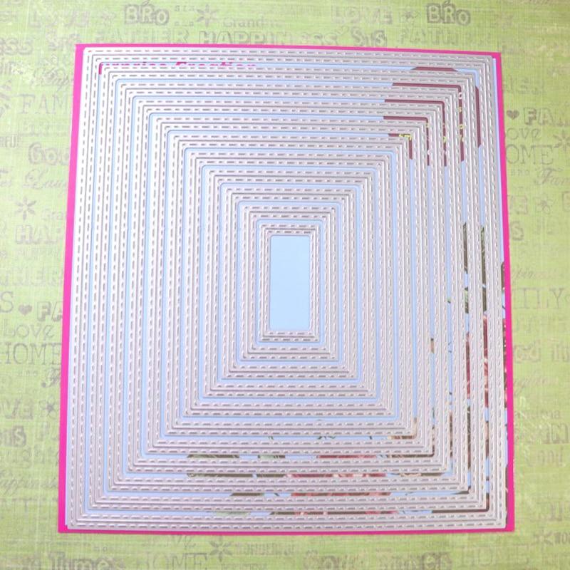 Surprise Creation Large Cutting dies 18x20.6cm 11-Piece Stitched Retangle Scrapbooking DIY Craft Metal Stencil