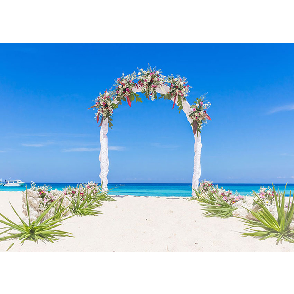 Summer Beach Wedding Photo Booth Background Blue Sky And