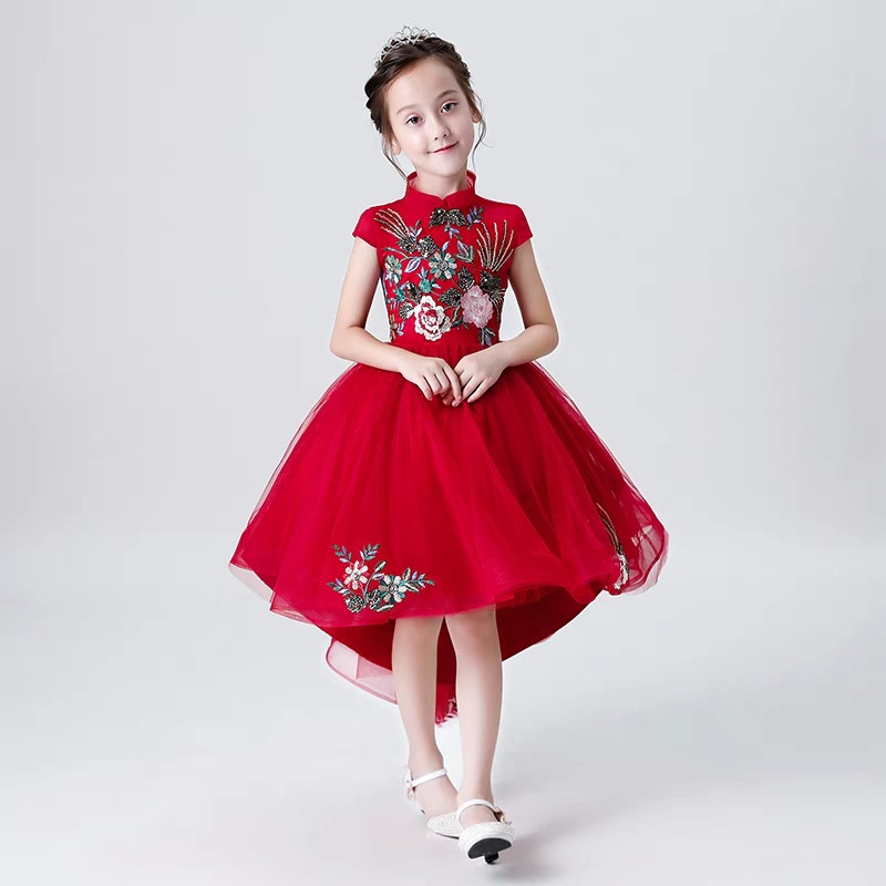 2018 New Chinese Style Children Girls Embroidery Flowers Red Color Birthday Wedding Party Dress Teens Kids Host Piano Tail Dress