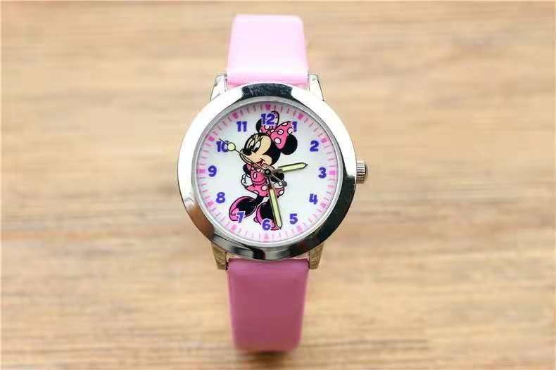Popular Cartoon Wish Minnie Children's Belt Watch Glow-in-the-dark Pointer Mickey Mouse Quartz Watch