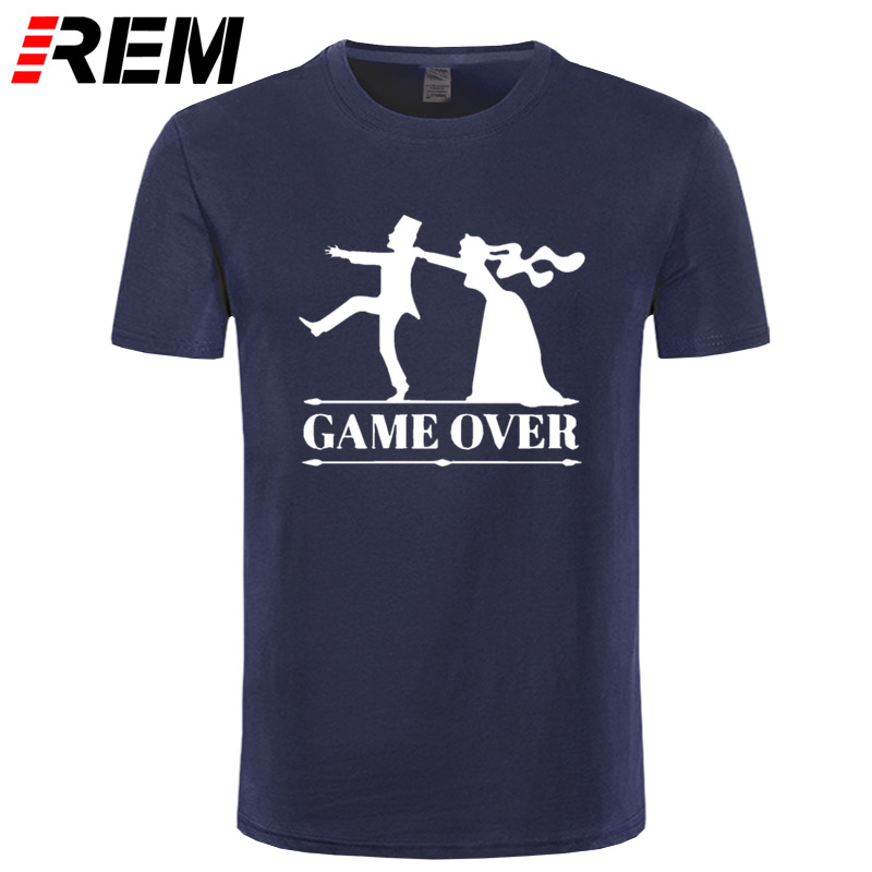 REM game over bride groom bachelor bachelorette party T Shirt Funny Tshirt Mens Clothing Short Sleeve Camisetas T-shirt