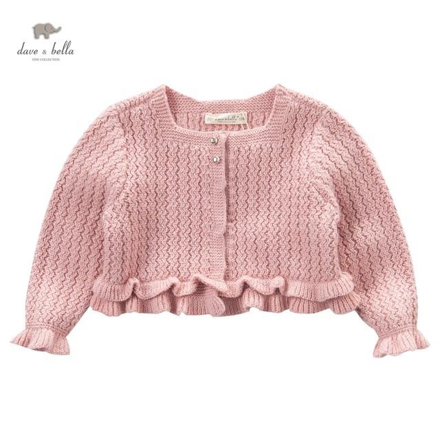 DB3912 dave bella autumn baby girls  dark pink short cardigans with ruffles