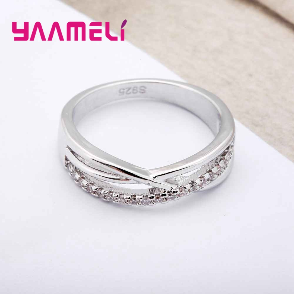 YAAMELI New Fashion Simple Cross Design 925 Sterling Silver Finger Ring With Cubic Zirconia Women Female Party Wedding Jewelry