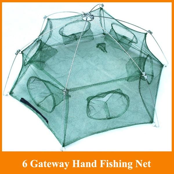 Hot Sale! 6 Gateway Hand Fishing Net 98cm Diametre stake net 6 holes fishing tackle for  ...