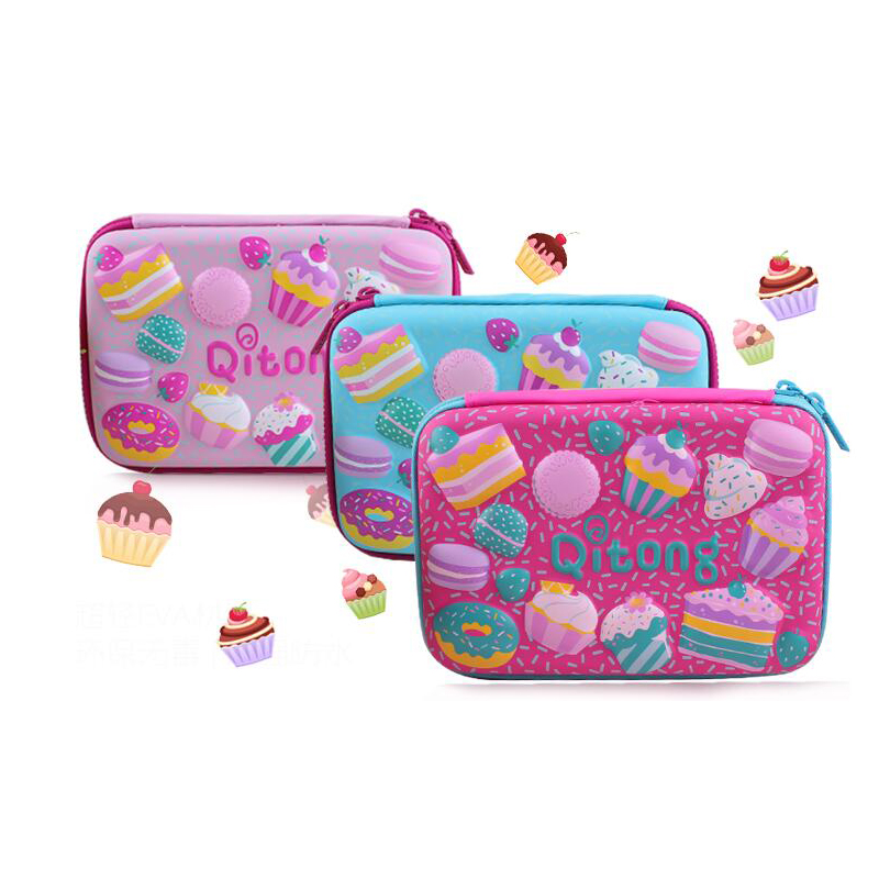 3Colors Large Capacity Pencil Case Cake Pen Pouch Bag For Girls Double zipper Cute School Pencil Box Stationery Supplies large capacity zipper pencil case eva stationery pouch cute cartoon animal pencil case pen bag school stationery supplies